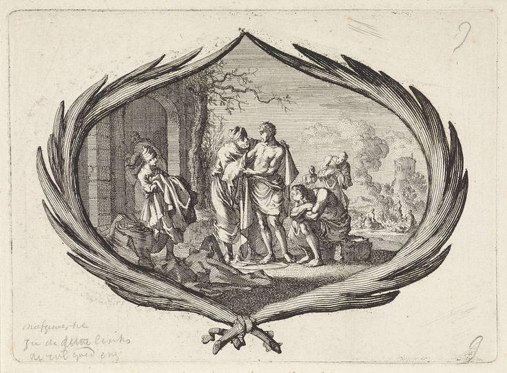 Jan Luyken | Naakten kleden, Jan Luyken, Pieter Mortier, 1700 | Een voorstelling in een cartouche van palmtakken. Een man deelt voor zijn huis kleren uit aan naakte armen, een van de werken van barmhartigheid.