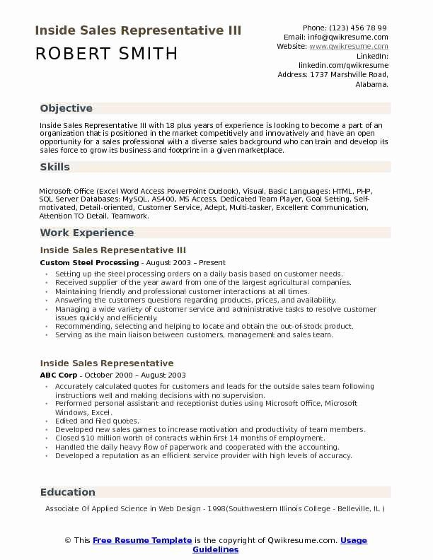 Inside Sales Resume Example New Inside Sales Representative Resume Samples In 2020 Sales Resume Sales Resume Examples Job Resume Examples