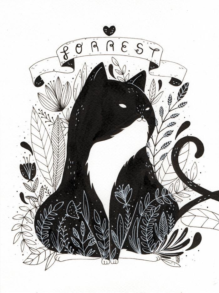 Cat Triptic by Mexican artist Siamés Escalante - so cute! #cats #illustration #art