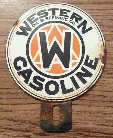Western Gasoline Vintage Porcelain Sign  (Oil & Refining Co. Antique Signs)