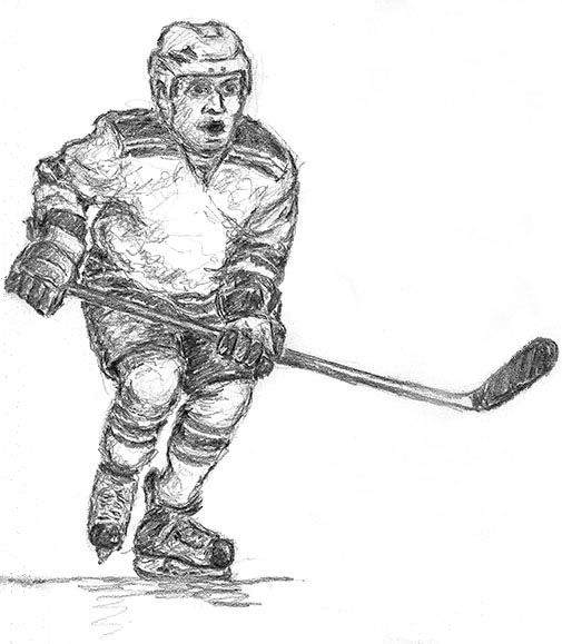 how to draw a hockey player from behind