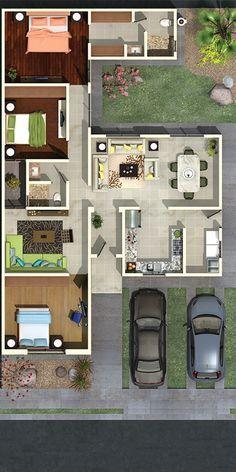 Planta arquitectónica de vivienda de tres habitaciones