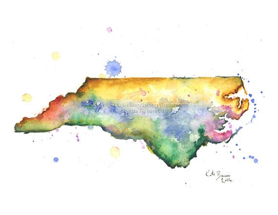 North Carolina Map  Print of watercolor by MilkandHoneybread