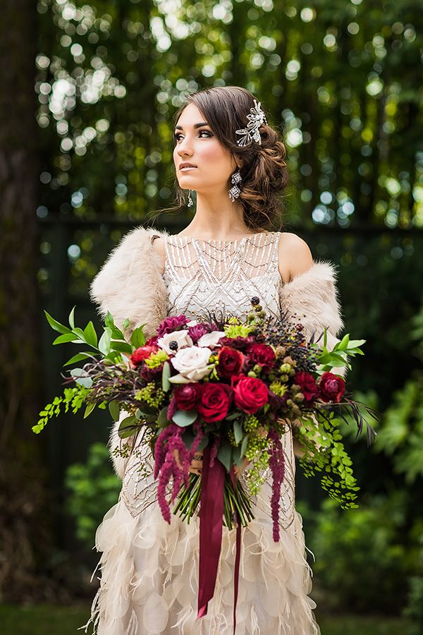 This delicious morsel of winter vintage wedding glam is platinum gold for us. Stunning images of wildly romantic blooms and flawless bridal style in Oregon.