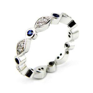 Sapphire & Diamond Swing design wedding band. #Wedding #Rings #Sydney #Eternity