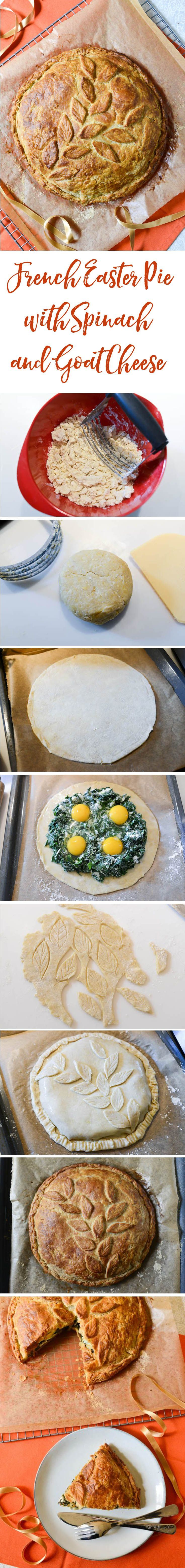 A traditional French Easter pie, vegetarian and spring-like, garnished with spinach and fresh goat cheese, with eggs nested inside. Superb presentation!