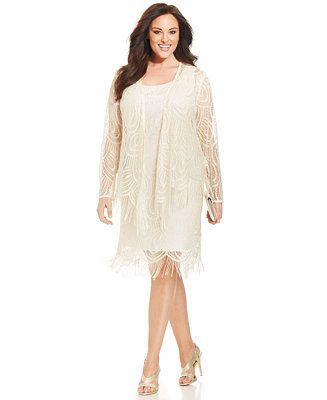 SL Fashions Plus Size Metallic Crochet Fringe Shift and Jacket - Dresses - Women - Macy's