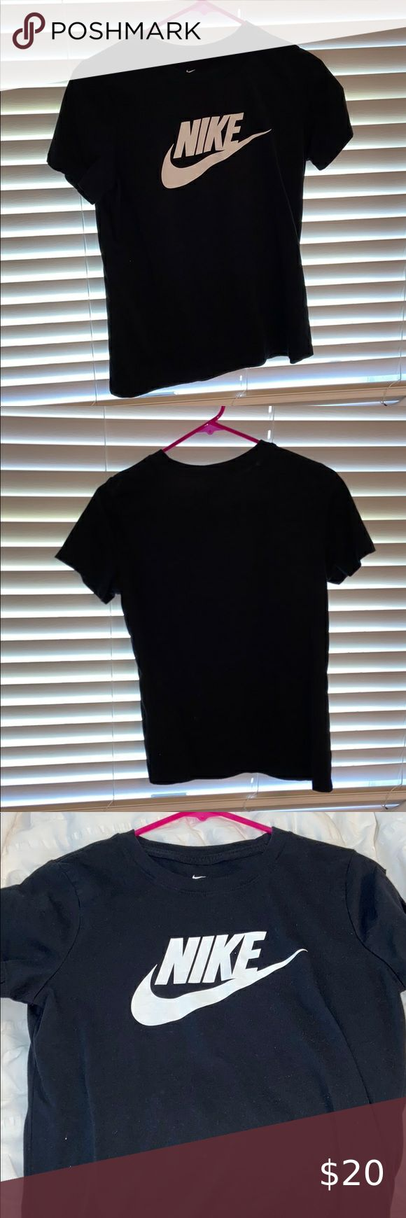 Black Nike Logo and Swoosh TShirt Black tshirt with