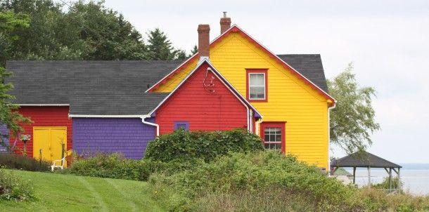 Colorful homes on Tancook Island, Nova Scotia