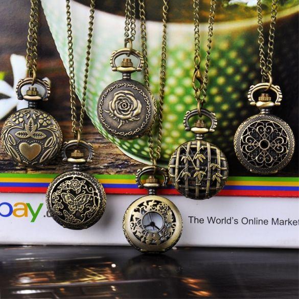Estilo Vintage Bronze Steampunk Quartz Colar relógio de bolso                                                                                                                                                                                 Mais