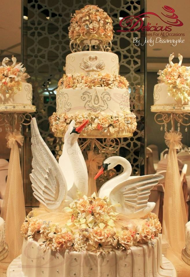 Swan Themed Wedding Cake Wedding Cakes By Delicious