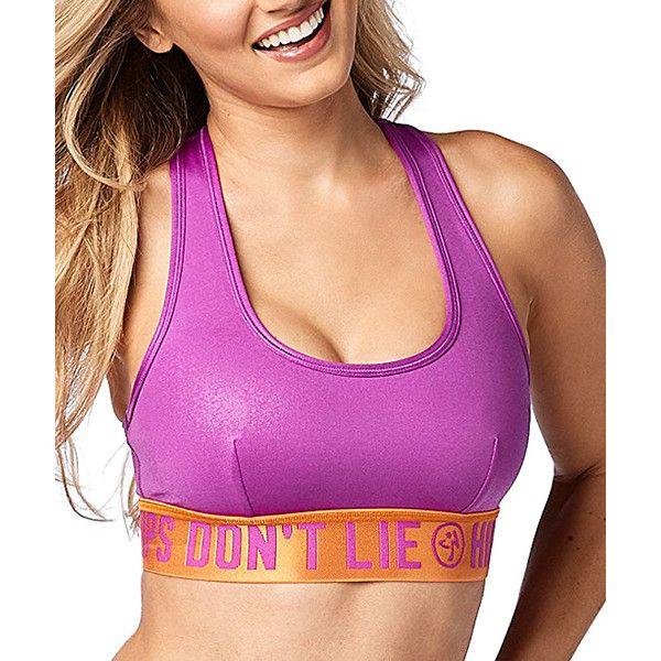 Zumba® Purple Power Zumba Party Cutout-Back Sports Bra ($30) ❤ liked on Polyvore featuring activewear, sports bras, plus size, plus size sportswear, plus size sports bra, zumba sportswear, plus size activewear and women's plus size activewear