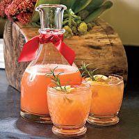 Rudolph's Tipsy Spritzer - 5 cups orange juice, 2 cups lemon-lime soda, 1.5 cups vodka, 1/2 cup grenadine, 1/4 cup lemon juice, garnish with lemon & rosemary
