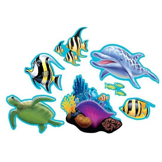 Oceaan thema decoraties 7 stuks  Oceaan thema decoratie 7 stuks. Deze kartonnen decoraties met oceaan afbeeldingen zijn verpakt per 7 stuks.  EUR 4.95  Meer informatie