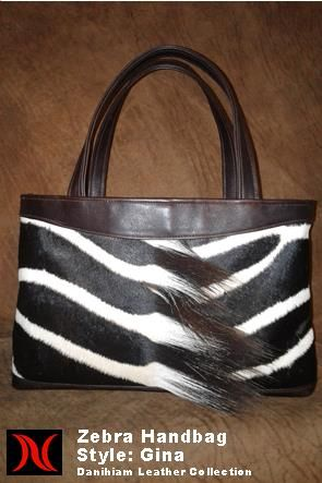 Zebra Skin Handbag Danihiam Leather Collection www.dlcleather.co.za info@dlcleather.co.za #danihiam