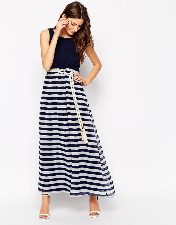 Maxi robe à ceinture en corde et rayures style marinière
