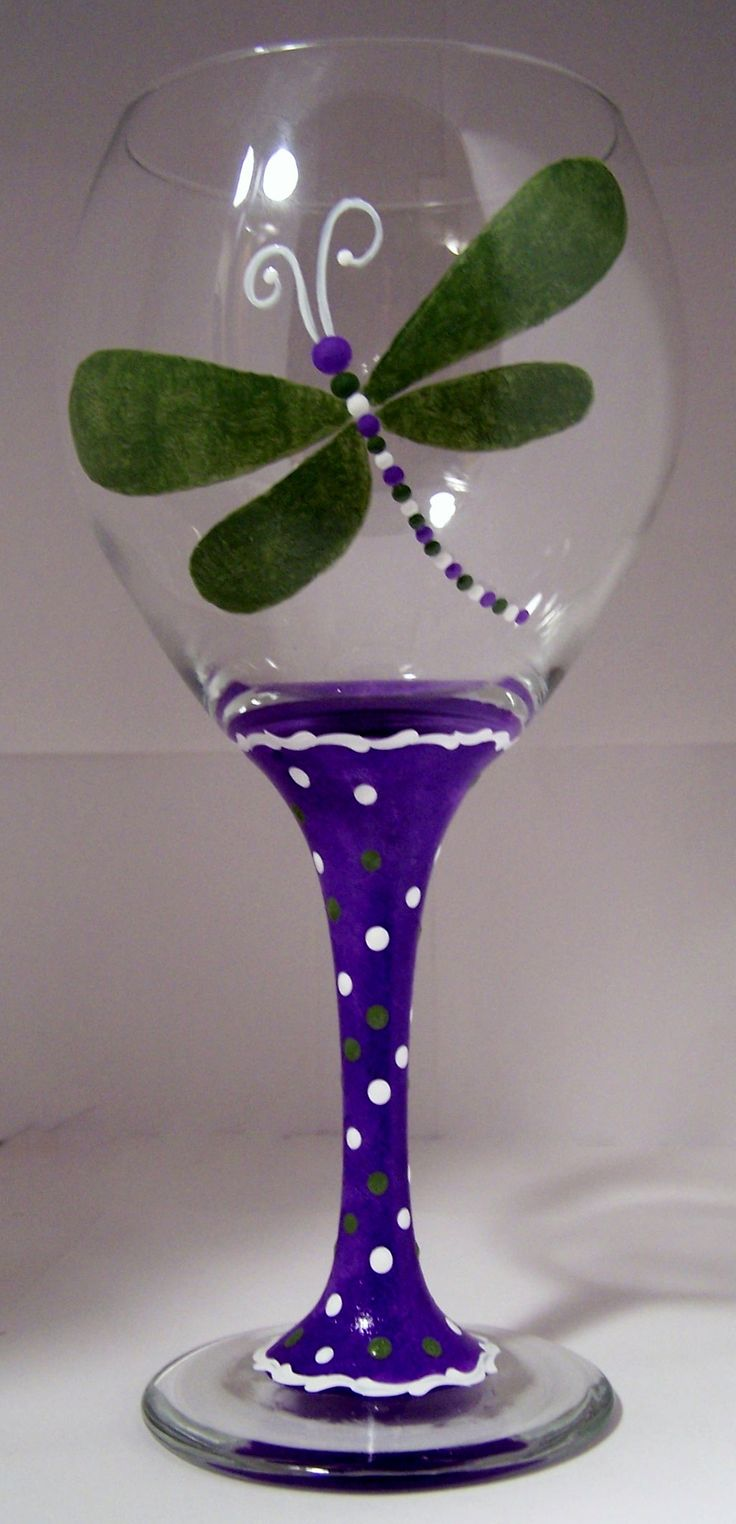 Dragon Fly, painted wine glass