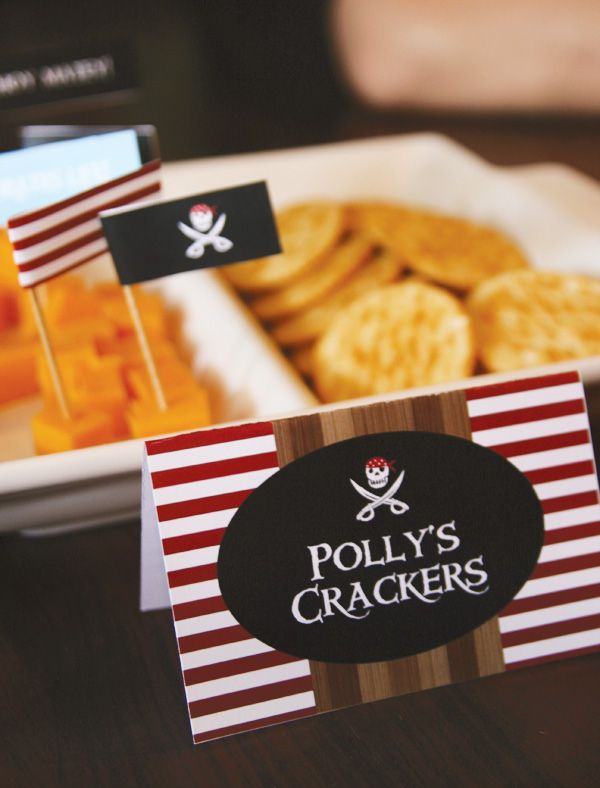 Pirate food  http://blog.hwtm.com/2012/06/red-white-striped-pirate-party-ideas/