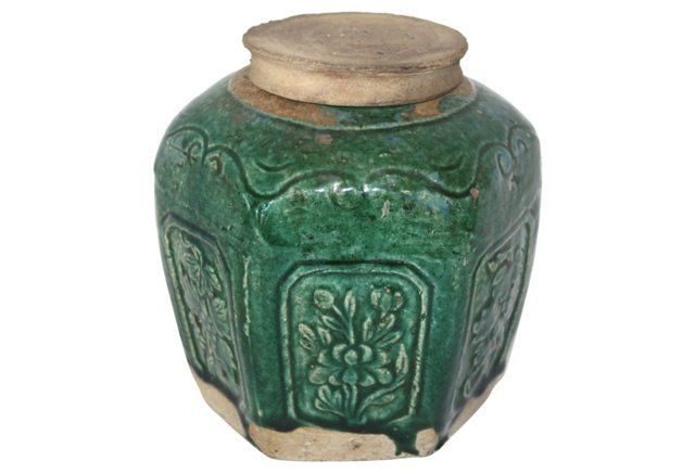 Antique Chinese Ginger Jar w/ Lid