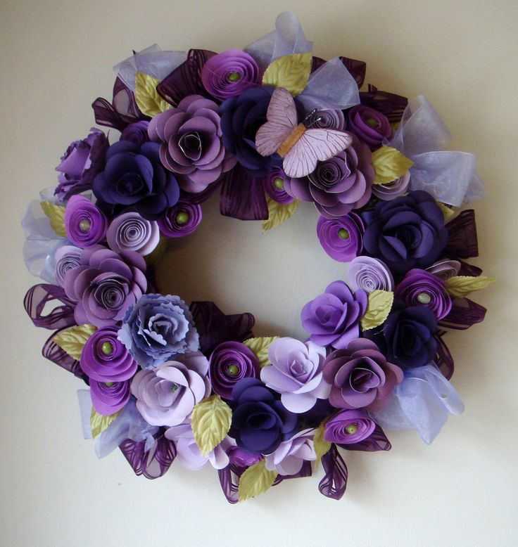 Wreath Assorted Paper Roses You choose colors by SweetPeasFlorals, $45.00