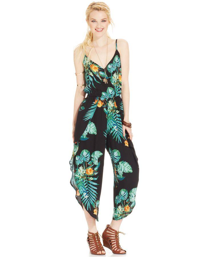 American Rag Juniorsu0026#39; Tropical-Print Jumpsuit - Jumpsuits U0026 Rompers - Women - Macyu0026#39;s | Jump-in ...