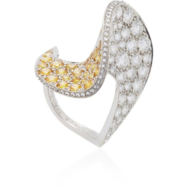REZA M'O Exclusive: Spirale Yellow Diamond Ring ($45,990) ❤ liked on Polyvore featuring yellow, canary diamond jewelry, yellow jewelry, yellow ring, canary diamond ring and yellow diamond rings