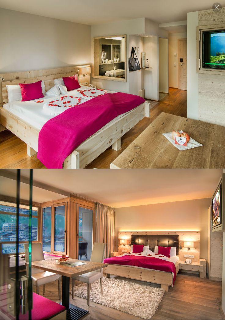 Alpin Juwel | Lifestyle Hotel | Saalbach Hinterglemm | Austria | http://lifestylehotels.net/en/alpin-juwel | bedroom, wooden interior, pink, great view, double room