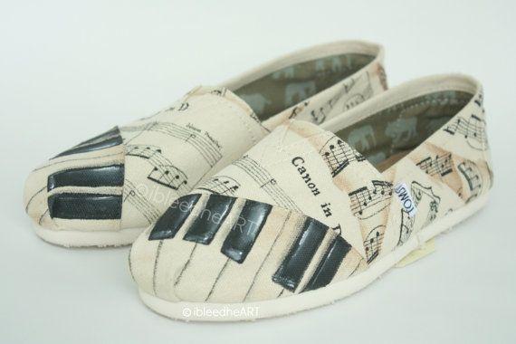 Custom Music Shoes Piano Keys Sheet Music by ibleedheART