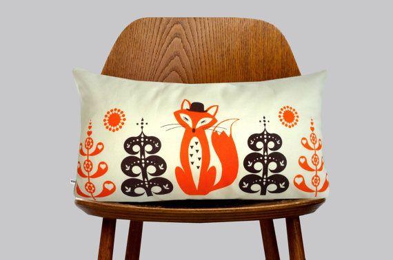 Hand Screen Printed Fox orange Cushion Cover by gunnaydri on Etsy, $26.00