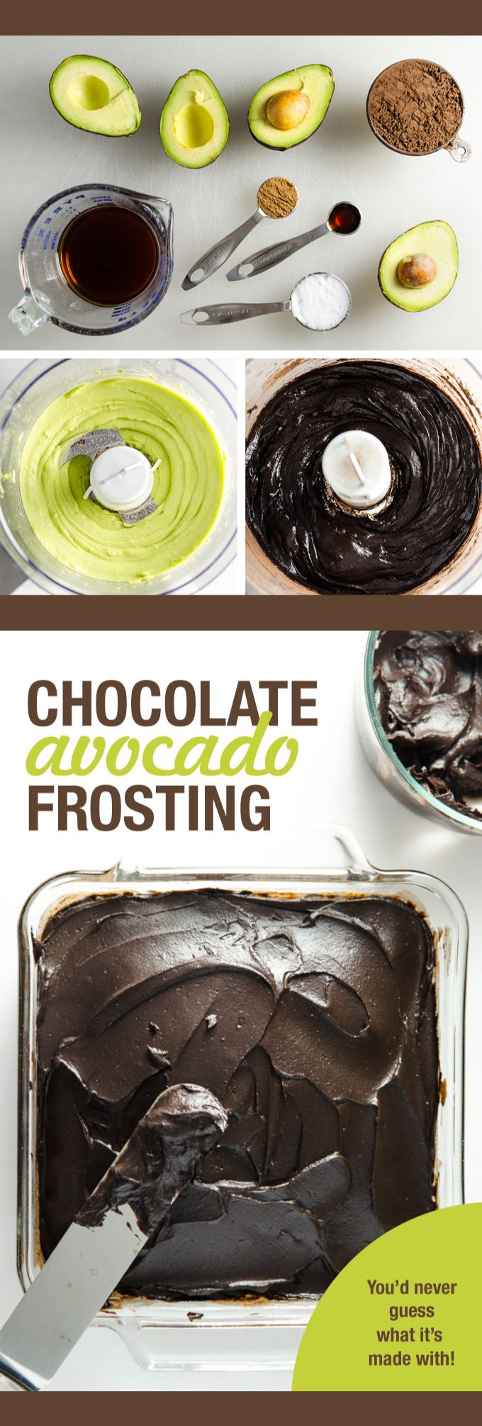 Dark Chocolate Avocado Frosting - you'd never guess this delicious vegan dairy free recipe is made with avocado! | VeggiePrimer.com