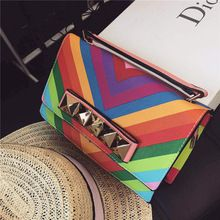 2015FRENCH NEW fashion women rainbow Clutch bag evening party sexy Message bag britght color shoulder wowan colorful handbag