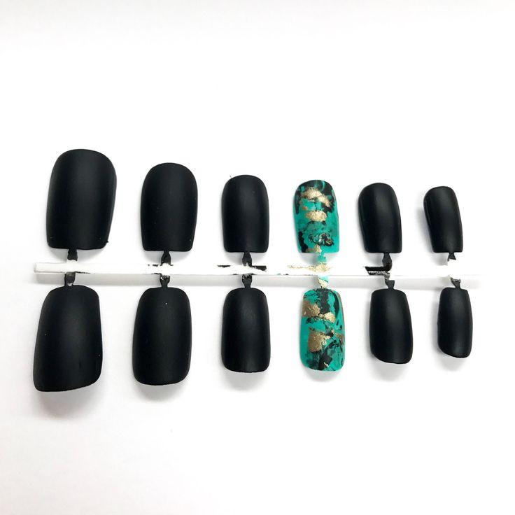 Turquoise stone, turquoise fake nails, turquoise jewelry, matte black nails, false nails, nail art, faux ongles, matte black nail polish by LetThemSparkle on Etsy https://www.etsy.com/listing/539760459/turquoise-stone-turquoise-fake-nails