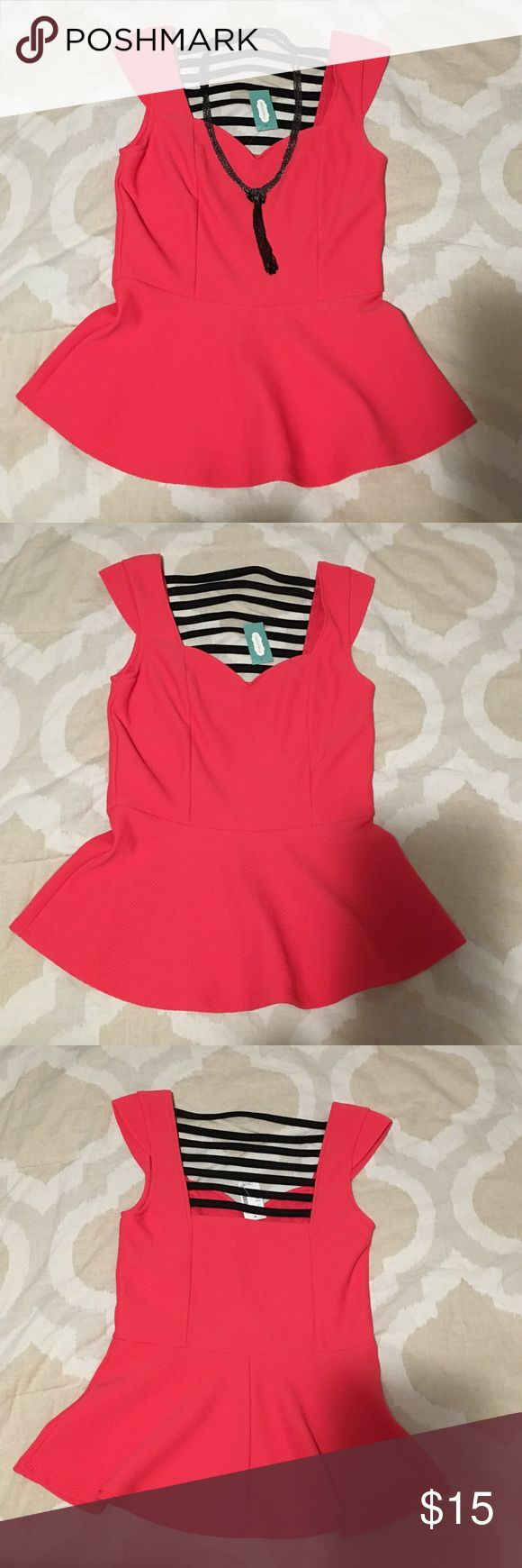 NWT Hot pink peplum top Hot pink peplum top with a sweetheart neckline and strappy detail on the back. This flirty top is just the right style for date night  Maurices Tops