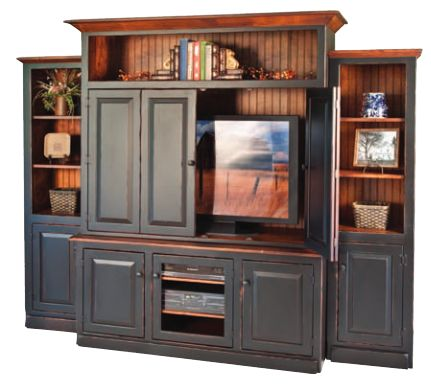 3-Piece Entertainment Center with Premium Finish Options This pine wood entertainment center is shown in a two tone black distressed finish on the base and a Heritage stained secondary finish.