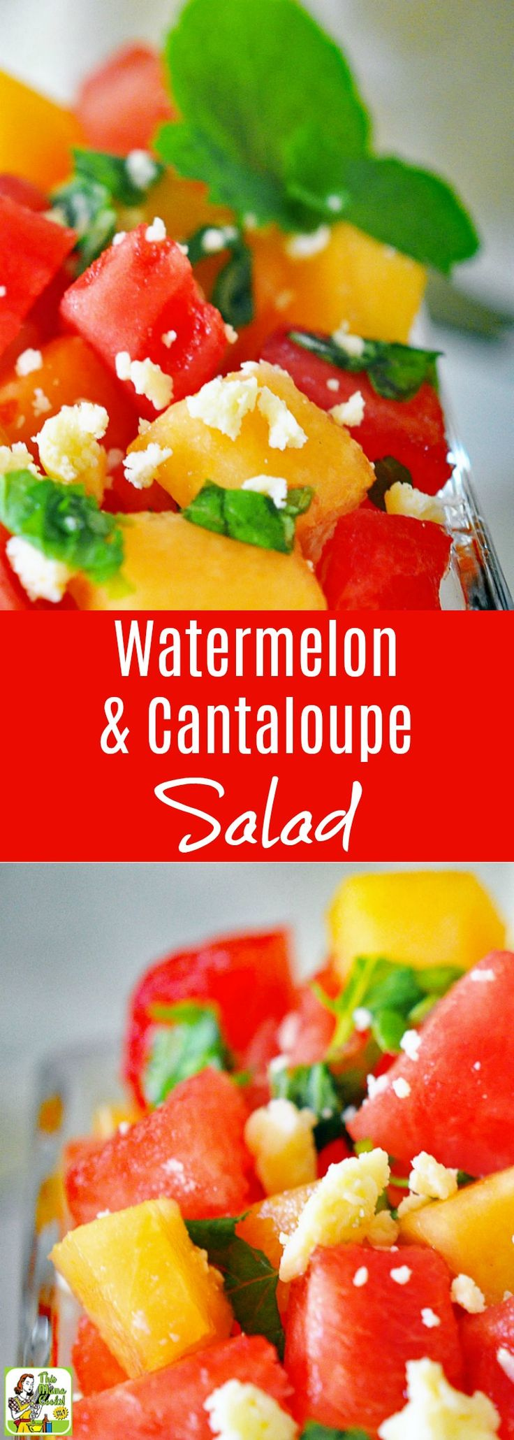 This Watermelon and Cantaloupe Salad recipe is ideal for summer entertaining. Click to get this naturally gluten free, diabetic friendly, and vegetarian fruit salad recipe. This watermelon and cantaloupe salad made with mint and feta is easy to make and perfect for BBQs and summer picnics. via @amnichols
