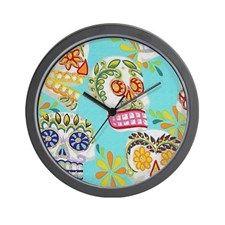Modern Fun Decorative Sugar Skulls Wall Clock for