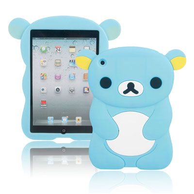 Lovely Bear Modeling Silicone Protective Case for iPad mini Sky Blue
