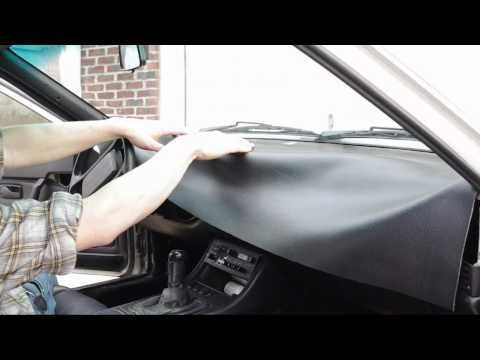 How To Recover A Dashboard - YouTube (Glue on New vinyl fabric w/ heat to shape)