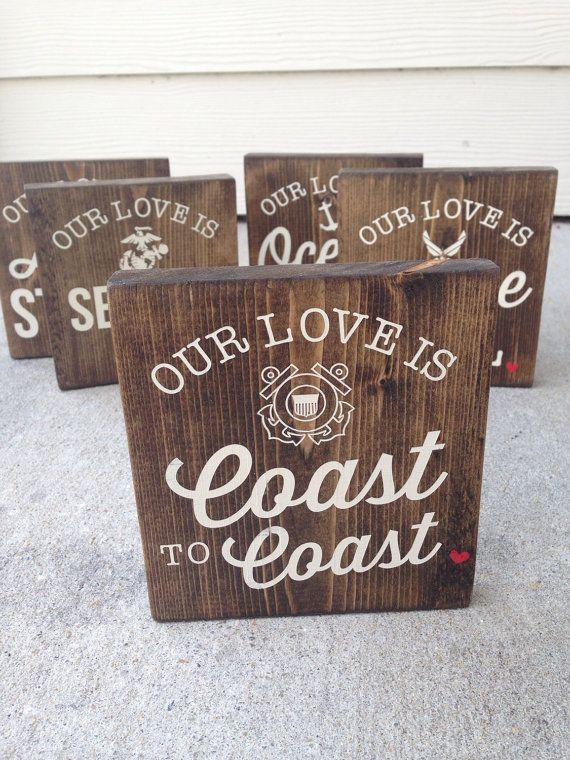 Our Love Is Coast To Coast Coast Guard Wood Block by polkadotwall