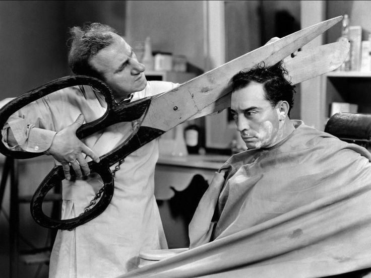 Buster Keaton gets a hair cut