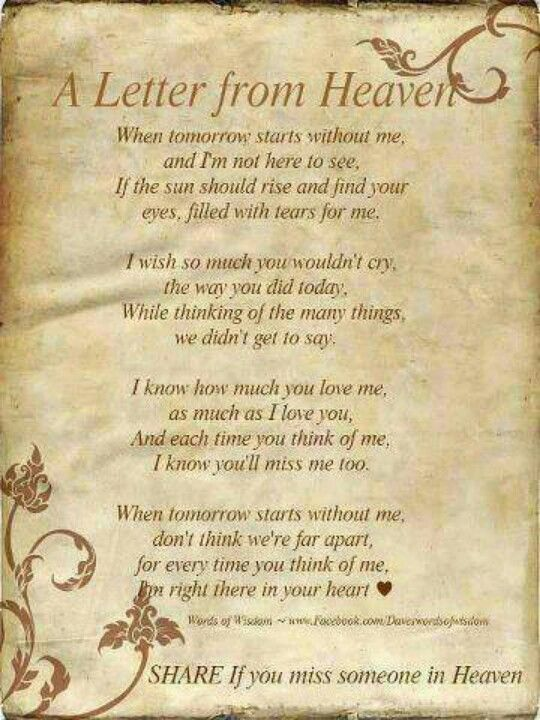 a letter from heaven letter from heaven quotes to remember 32603