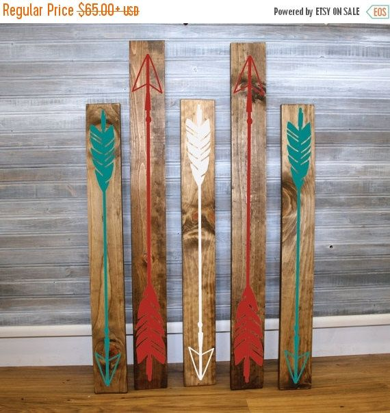 set of 5 multi color wood arrow sign girls bedroom wall decor reclaimed barn wood gift for her aztec style design - Multi Bedroom Decor