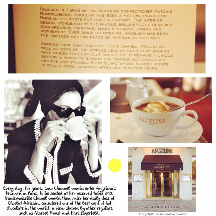 Happy Birthday Mademoiselle Chanel! Fancy a cuppa from Angelina?  http://jetsettimes.com/2012/09/28/interview-at-angelina-paris-keeping-tradition-with-its-infamous-mont-blanc-and-chocolat-lafricain/  #CocoChanel #buyMART #foodie #Movies #Art #Food #Chef #Africa #Chanel #Entrepreneur #StartUp #SouthAfrican #FoodPorn #Design #Creative #Ad #GraphicDesign #Advertising #Brand #Marketing #London #NewYork #AngelinaParis #Instachef #SouthAfrica #AgencyLife #Paris #Blogger #NYC