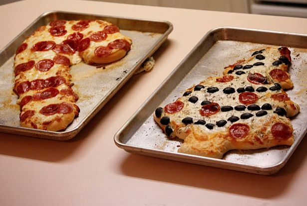 Christmas pizzas! Our family tradition, and carried on by our children much of the time is pizza on Christmas Eve (a holdover from our VERY poor days as newlyweds when pizza was a real treat). These are great ideas!
