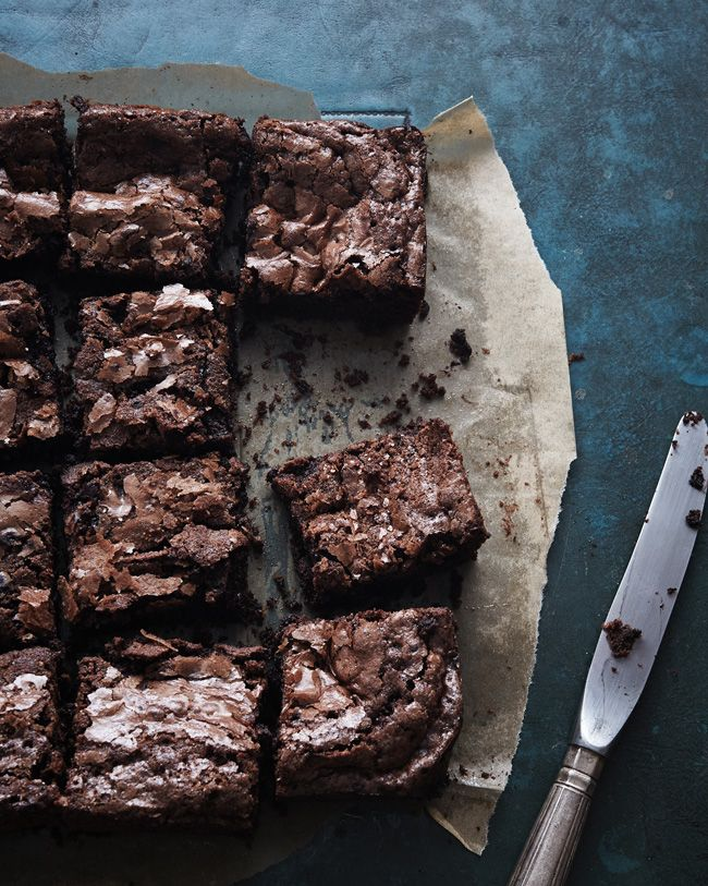 These brownies, Nigel Slater's brownies, are the best brownies I've ever had. We all have different opinions on the topic, I know, but such are the power of these specimens that they shattered all my notions of what a brownie should be and replaced them with these burnished beauties.