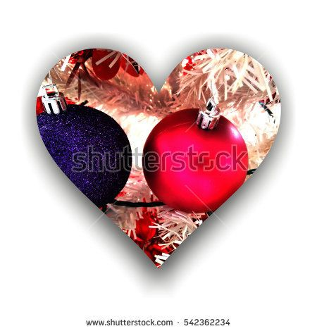 #Heart shape with shadow filled with two #Christmas #globes and abstract #decors, on white background