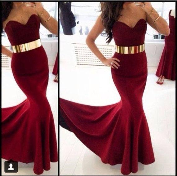 red wine burgundy mermaid sweetheart  metal belt  prom dress , pageant evening wedding party formal dress, custom made