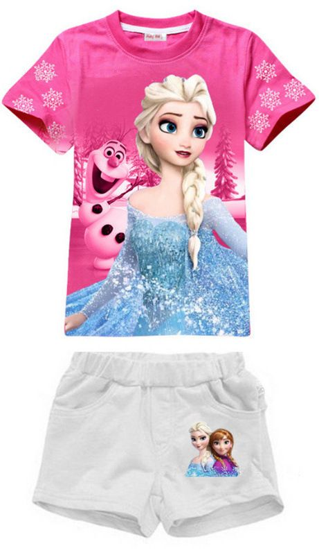 Frozen Clothes Elsa Anna Summer Clothing Sets For Girls NEW Cotton T