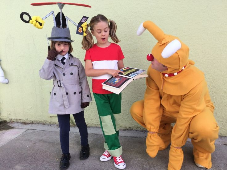 "This from longtime The Poop reader Esme, a previous costume contest winner. Love the craftiness here. Esme writes: ""This year Keely (now 7) wanted to let June (now 5) have the starring role, so here they are as Penny and Inspector Gadget, with their dad Gary as Brain (their request). We started watching the original series earlier this year and then Netflix did their reboot, so it has all become quite popular in this house. Lots of duct tape, as well as our classic tools of glue gun and rit…"