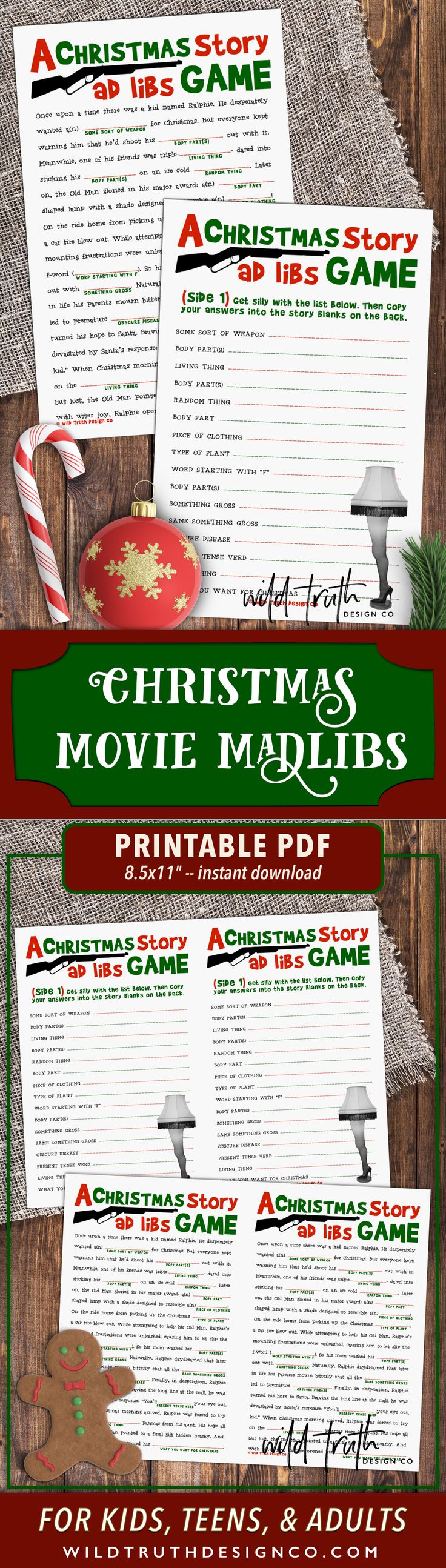A Christmas Story Movie Mad Lib - Holiday Party Game For Adults (LOL, this is perfect!!)